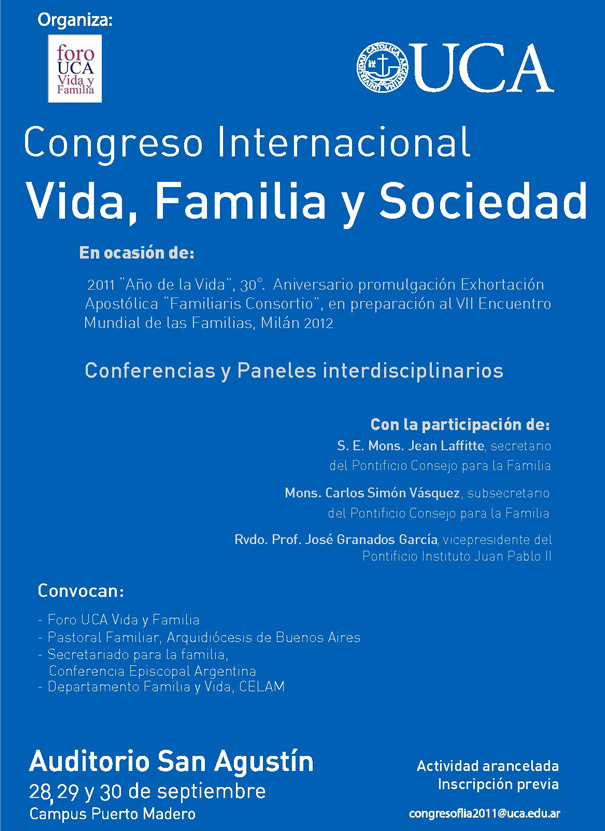 Congreso Internacional en la UCA: Vida, Familia y Sociedad