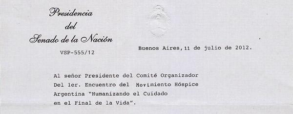 El 1er Encuentro Hospice fue declarado de interés por el Senado de la Nación